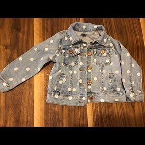 Toddler girls polka denim jacket